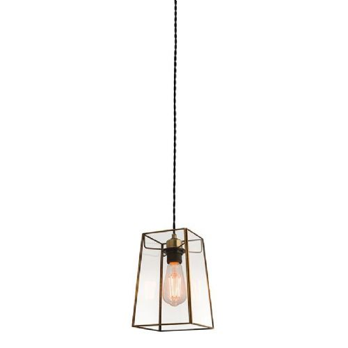 Clear glass & antique brass effect plate Pendant Light 60892 by Endon